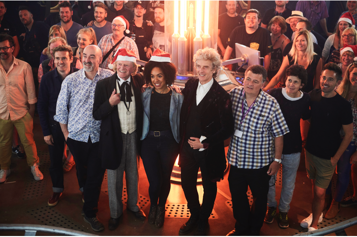 nick on the doctor who set for the 2017 christmas special with cast and crew including executive producer brian minchin david bradley pearl mackie